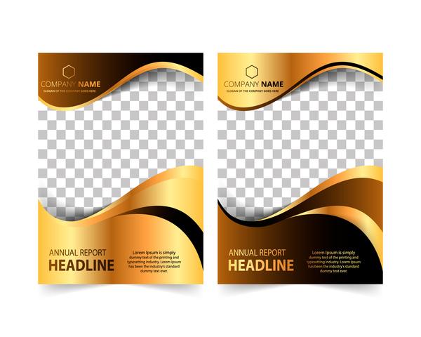 Golden company brochure cover template vector 11