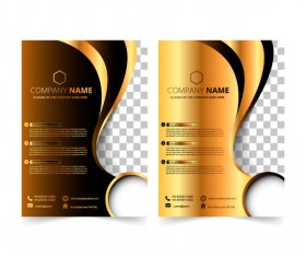 Golden company brochure cover template vector 12