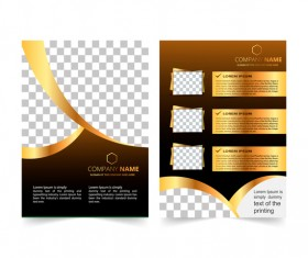 Golden company brochure cover template vector 13
