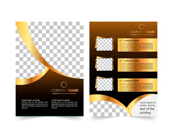 Golden company brochure cover template vector 13