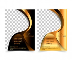 Golden company brochure cover template vector 14