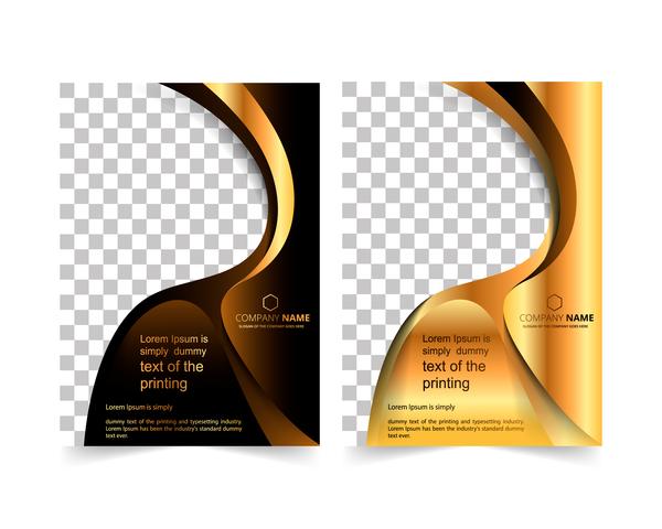 Golden company brochure cover template vector 14