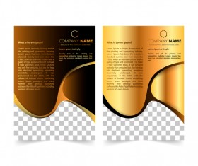Golden company brochure cover template vector 15