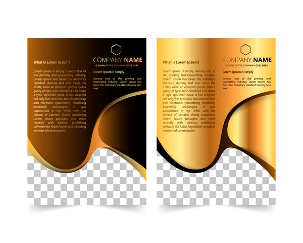 Golden company brochure cover template vector 15