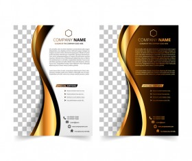 Golden company brochure cover template vector 16