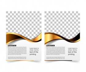Golden company brochure cover template vector 17