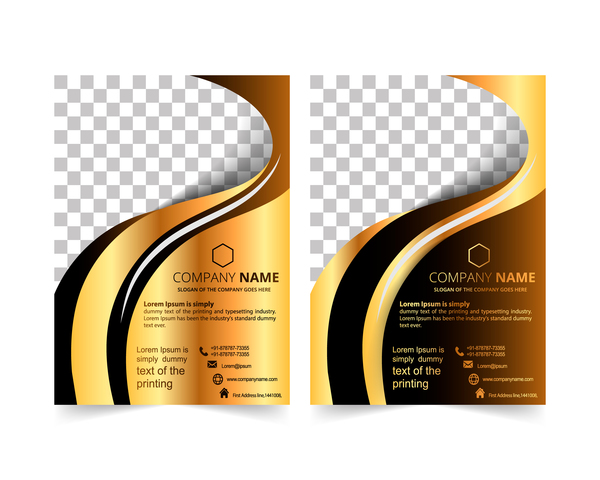 Golden company brochure cover template vector 18