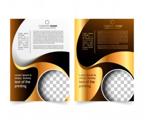 Golden company brochure cover template vector 19