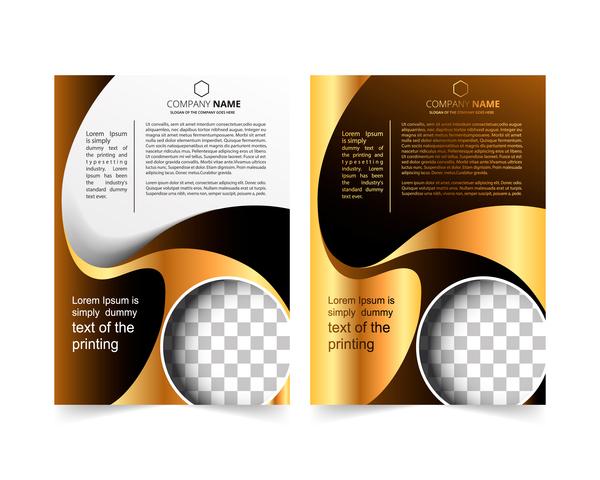 Golden company brochure cover template vector 19