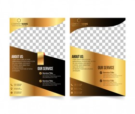 Golden company brochure cover template vector 20