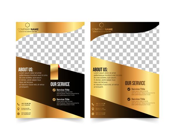 Golden company brochure cover template vector 20