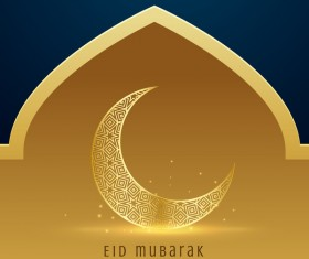 Golden with blue eid mubarak background design vector