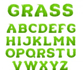 Grass alphabet green vector