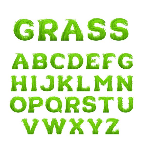 Grass alphabet green vector