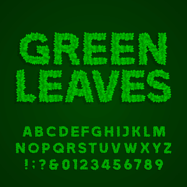 Green leaves alphabet with number vector