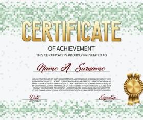 Green pixelated certificate template vector material 02