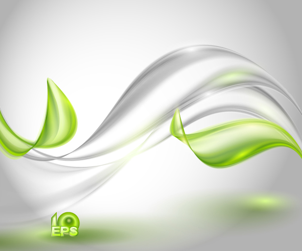 Green wavy transparent abstract backgrounds vector 05