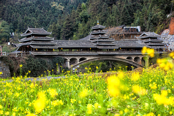 Guangxi Sanjiang Chengyang wind and rain bridge Stock Photo