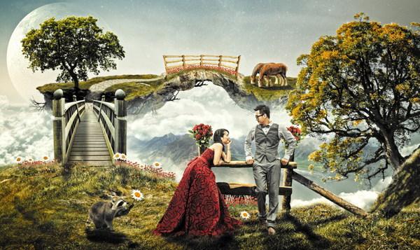 Gufeng ancient rhyme wedding photo photo Stock Photo