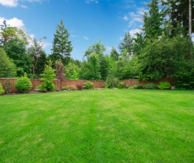 Hall and courtyard lawn landscape Stock Photo 09