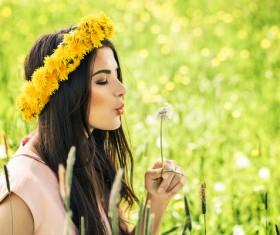 Happy girl among wild flowers Stock Photo 01