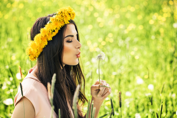 Happy girl among wild flowers Stock Photo 01 free download