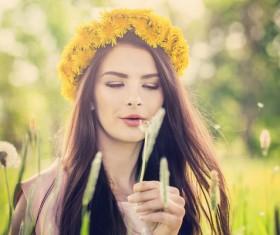Happy girl among wild flowers Stock Photo 02