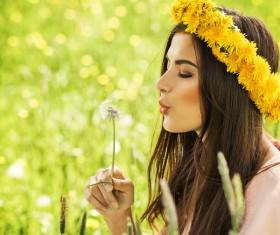 Happy girl among wild flowers Stock Photo 03