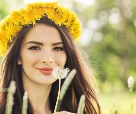 Happy girl among wild flowers Stock Photo 04