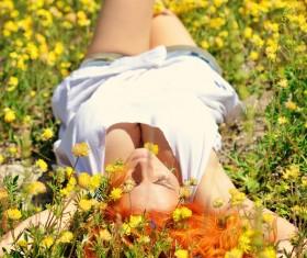 Happy girl among wild flowers Stock Photo 06
