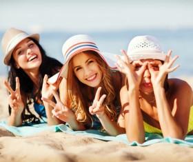 Happy girl on the beach Stock Photo