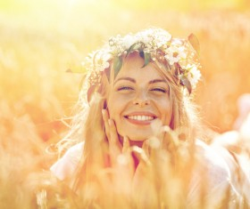 Happy woman in the wheat field Stock Photo 02