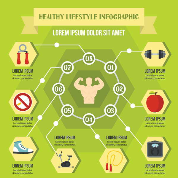 Healthy lifestyles infographic design vector