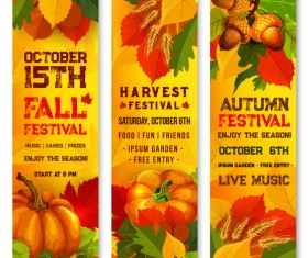 Hello autumn vertical banner vector set 01