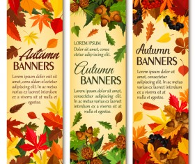 Hello autumn vertical banner vector set 02