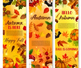Hello autumn vertical banner vector set 03