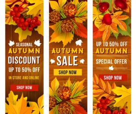 Hello autumn vertical banner vector set 04