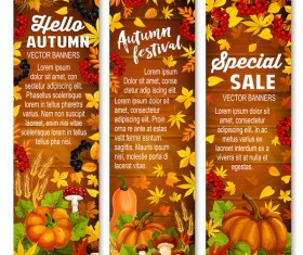 Hello autumn vertical banner vector set 06