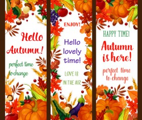 Hello autumn vertical banner vector set 07