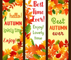 Hello autumn vertical banner vector set 08