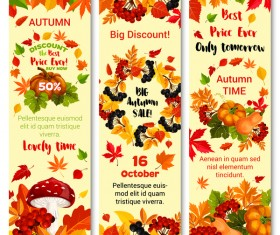 Hello autumn vertical banner vector set 09
