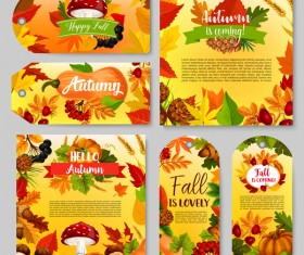 Hello autumn vertical banner vector set 10
