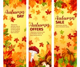Hello autumn vertical banner vector set 11