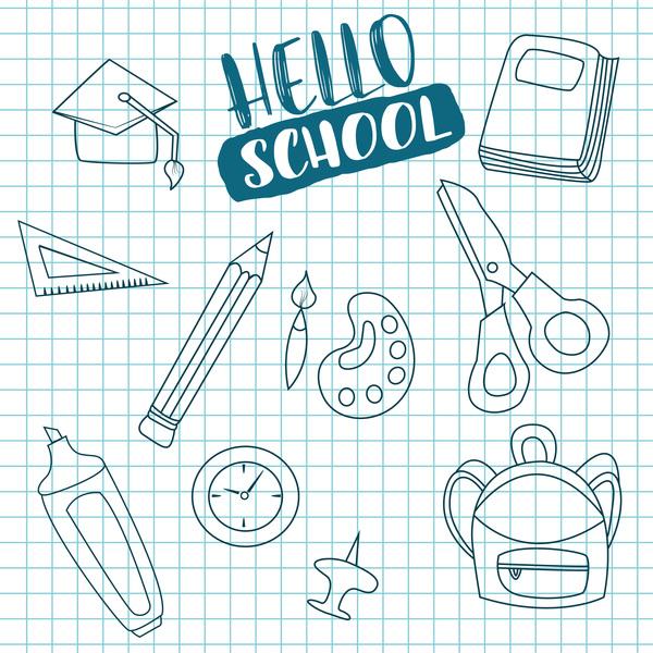 Hello school background vector