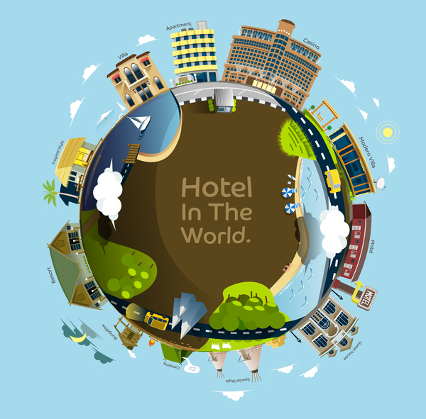 Hotel in the world vector material