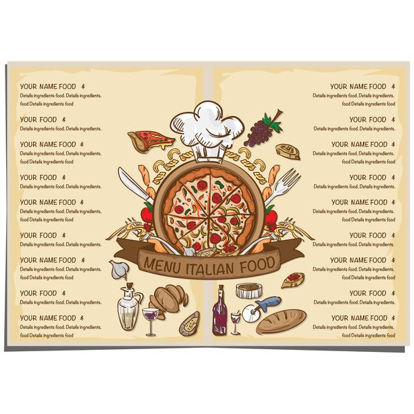 Italian food menu template vector design 01