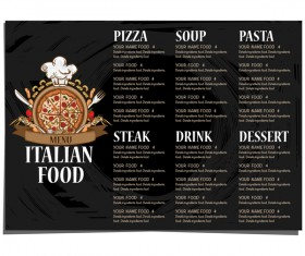 Italian food menu template vector design 03