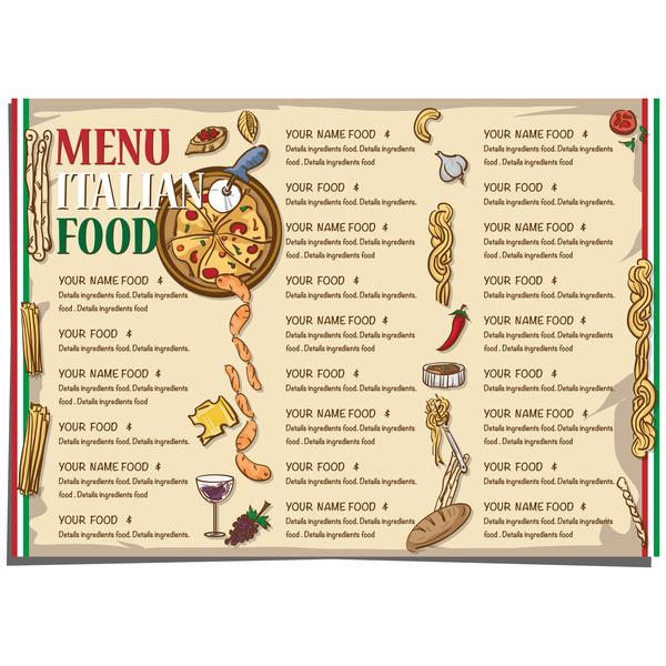 Italian food menu template vector design 04