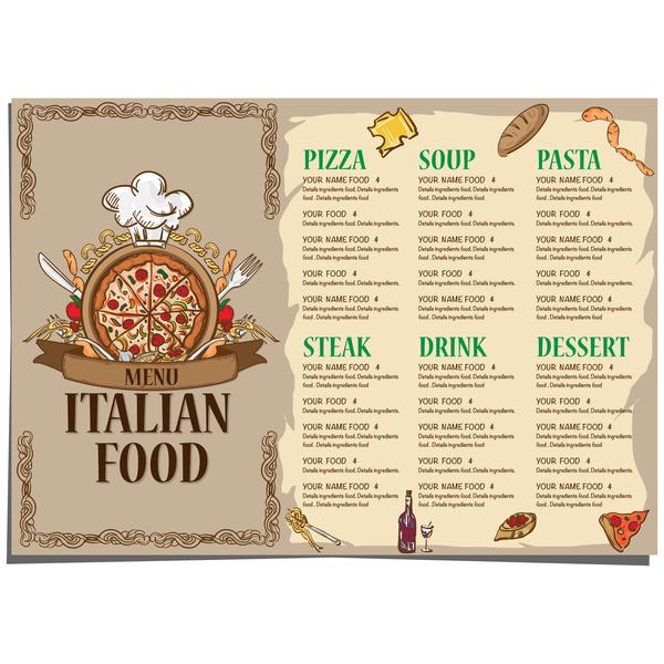 Italian food menu template vector design 06