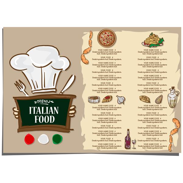 Italian food menu template vector design 07